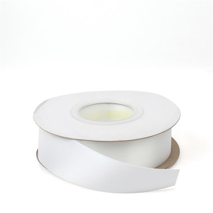 White Double Faced Satin Ribbon, Width Approx 25mm (20m Length)