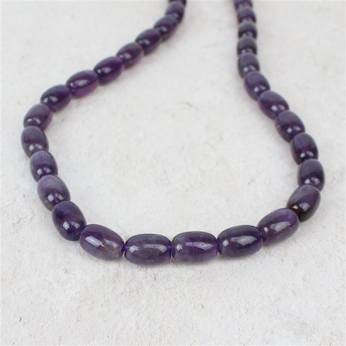 190cts Amethyst Rice Beads Approx 8x12mm, Approx 38cm/strand