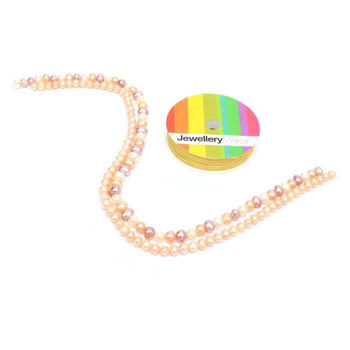 Golden: Multi-colour & Pink strands of Freshwater Pearls, butterfly connectors & thread