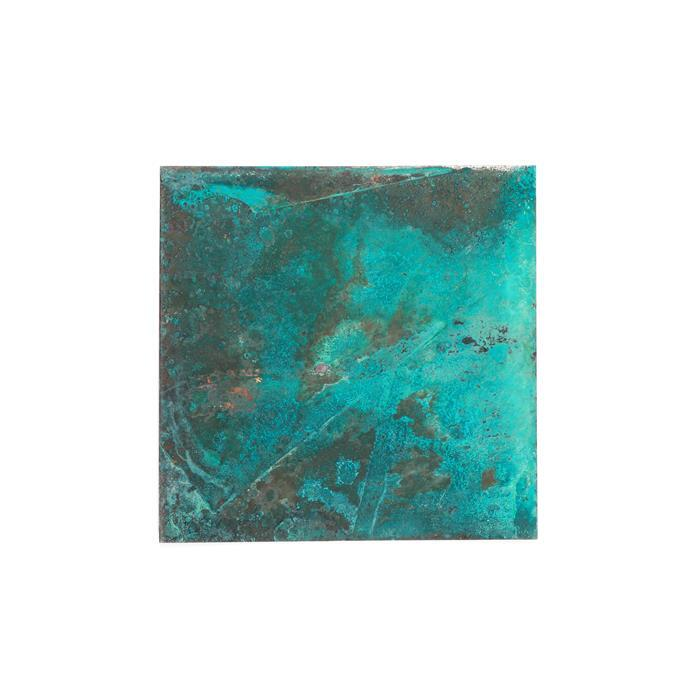 Green Tone Oxidized Copper Sheet 0.32mm 4x4 inches