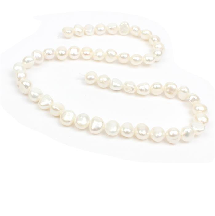 White Freshwater Cultured Nugget Pearls Approx 8-9mm, 38cm Strand