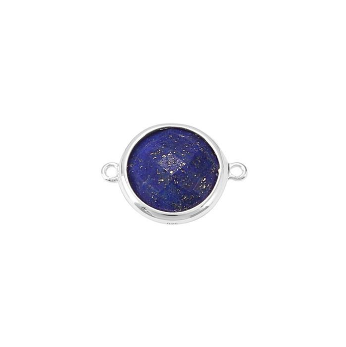 925 Sterling Silver Bezel Connector Approx 19x14mm Inc. 5.30cts Lapis Lazuli Briolette Cut Round Approx 12mm.