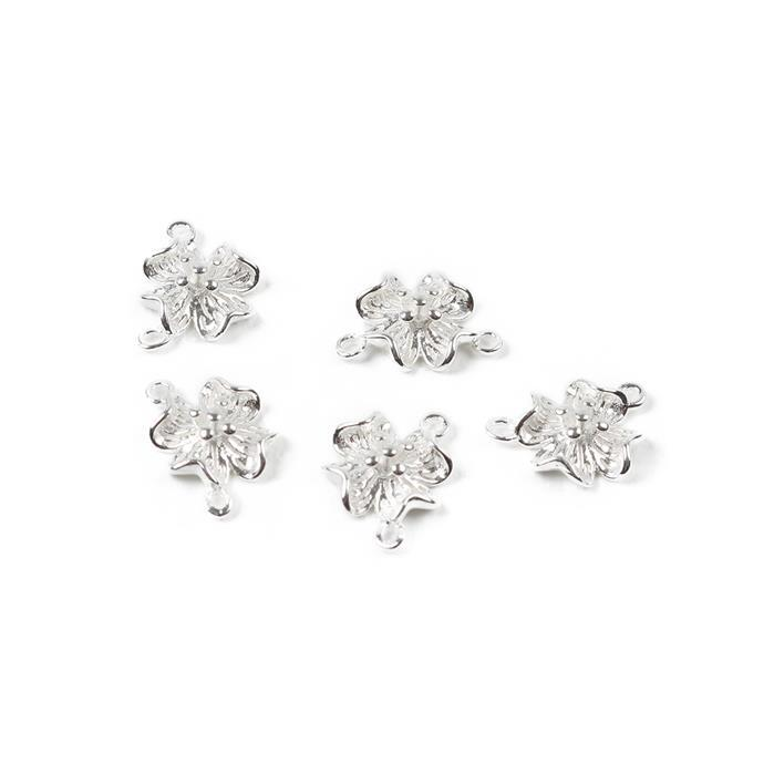 925 Sterling Silver Flower Spacers, Approx 11mm, 5pcs