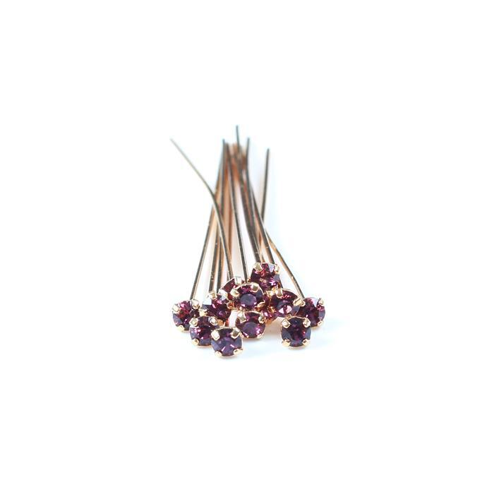 Swarovski Headpin 17704 Amethyst with Gold Plating, PP24, 0.05x3.81cm, 12pk