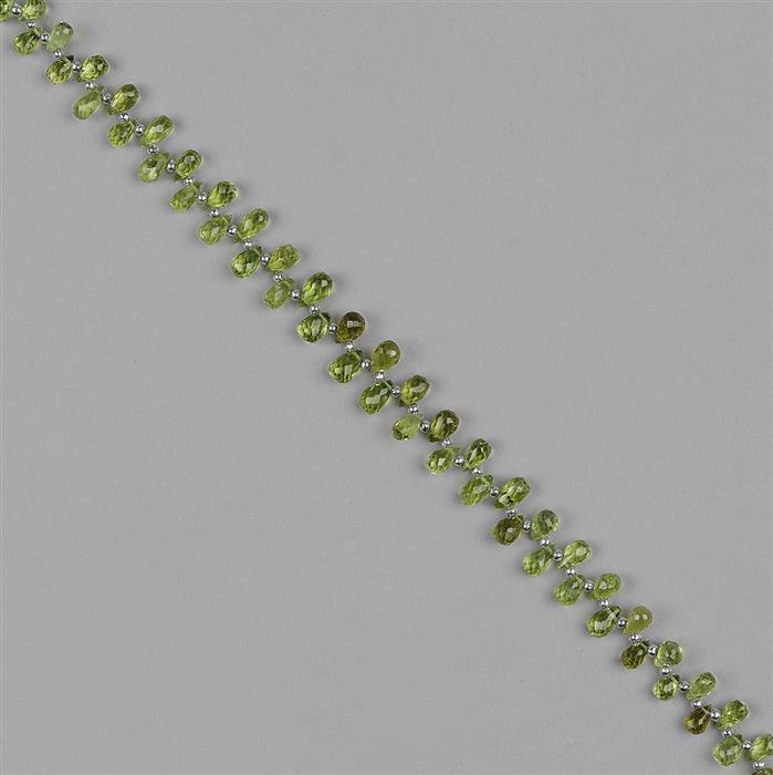 48cts Peridot Graduated Faceted Drops Approx 4x2 to 7x5mm, 22cm Strand.