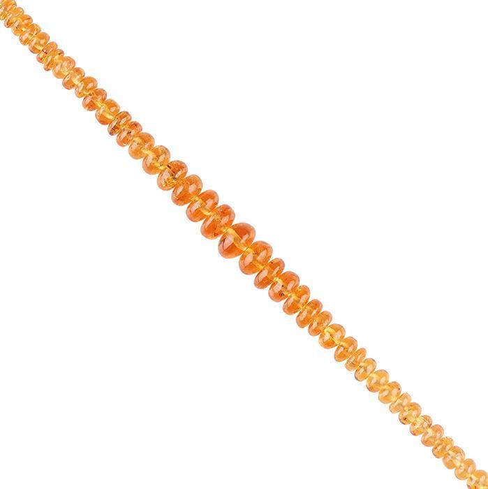 20cts Spessartite Garnet Graduated Plain Rondelles Approx 3x1 to 6x3mm, 10cm Strand.