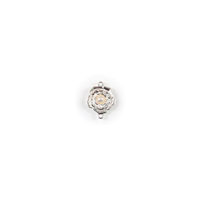 925 Sterling Silver 3D Rose Connector with Freshwater Cultured Pearl Centre Approx 12x15mm, 1pc