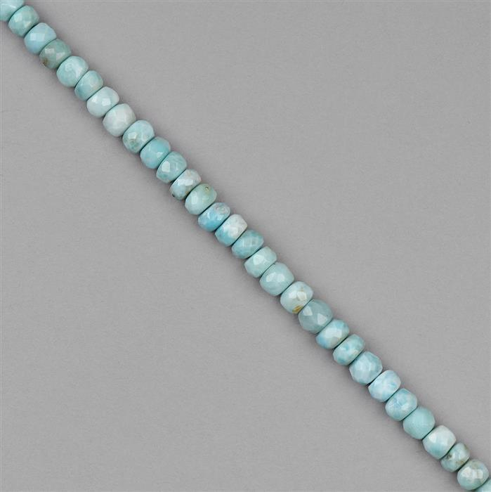 68cts Larimar Graduated Faceted Rondelles Approx 4x3 to 6x4mm, 18cm Strand.
