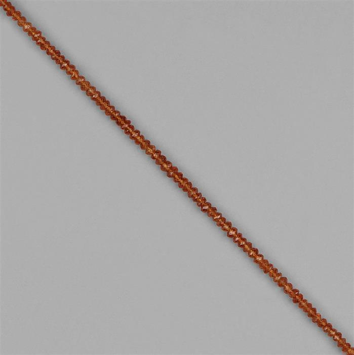 22cts Spessartite Garnet Graduated Faceted Rondelles Approx 2x1 to 4x2mm, 18cm Strand.