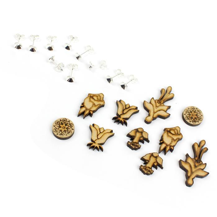 Mini Wooden Floral Earring Collection: Wooden Shapes & Glue On Earring Posts