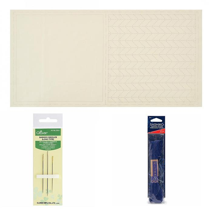 Sashiko Cream Mat Panel Kit: Panel, Thread & Needles