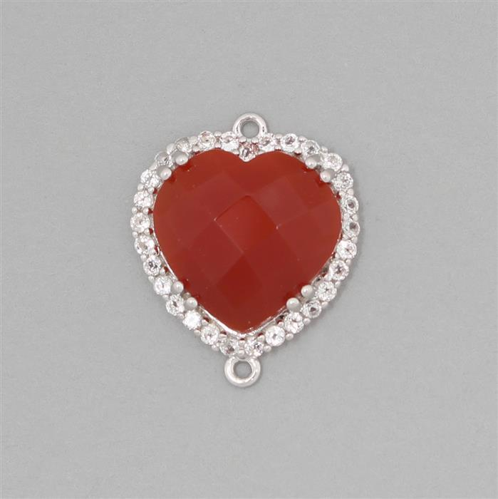 925 Sterling Silver Heart Shape Gemset Connector Approx 20x17mm Inc. 5.58cts Red Onyx Checker Top Round & 0.52cts White Topaz