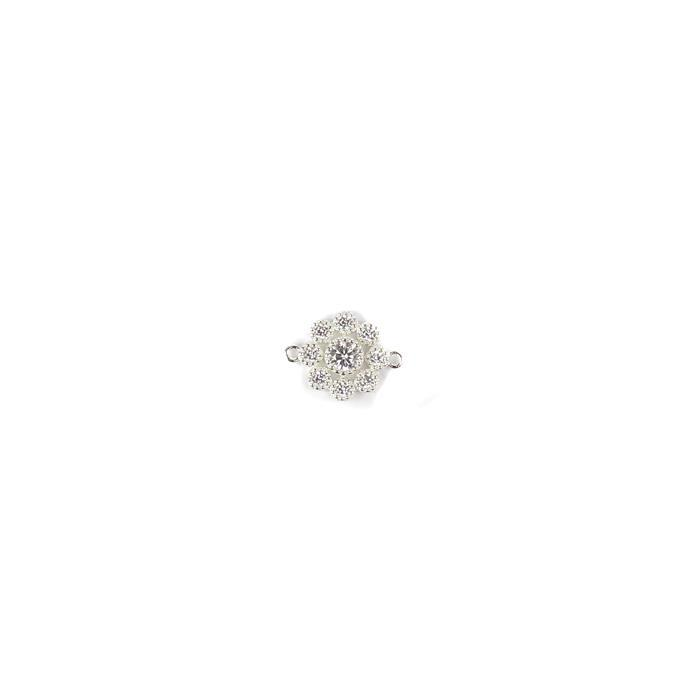 925 Sterling Silver Connector with Clear CZ Stone Setting Approx 12mm 1pc