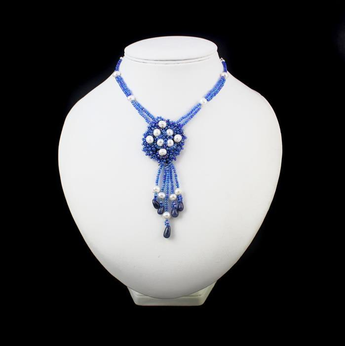 Deep Blue; 45cts Blue Sapphire, Cultured Pearls, Miyuki Seed beads, Threading & Findings
