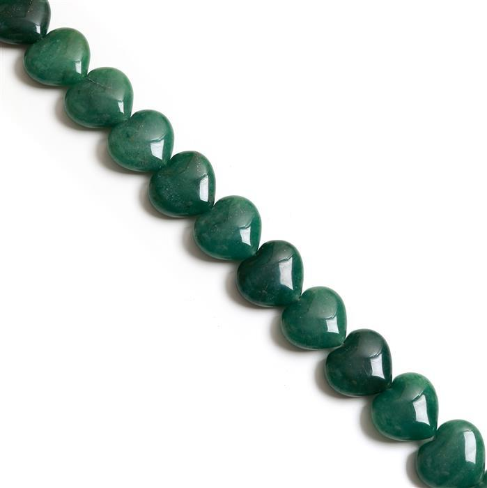 600cts Green Aventurine Puffy Heart Approx 20x23mm, 38cm strand