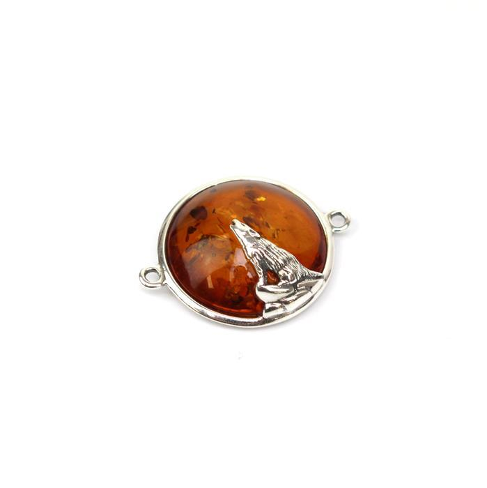 Baltic Cognac Amber Wolf Connector Sterling Silver Approx 21x27mm