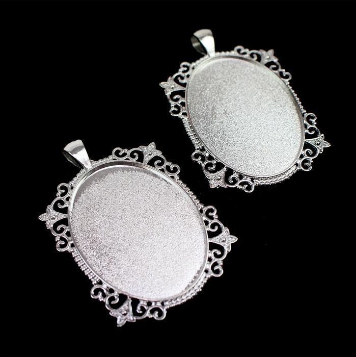 Silver Color Bezel Pendant Approx 38x54mm Set of 2