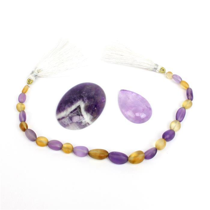 Gilded Violet: Oval Amethyst & Pear Dogtooth Amethyst cabs & amethyst & citrine tumbles