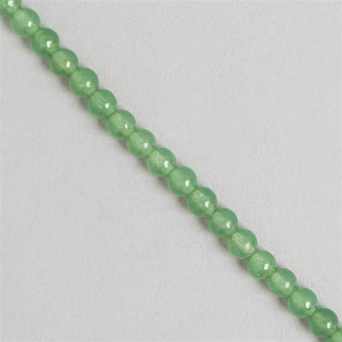 80cts Green Colour Dyed Quartz Plain Rounds Approx 6mm, 35cm Strand.