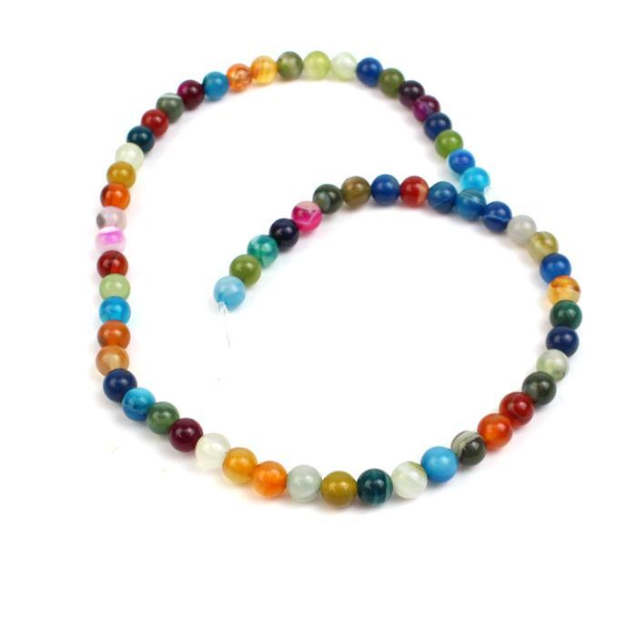 80cts Multi-colour Agate Plain Rounds Approx 6mm, 38cm strand