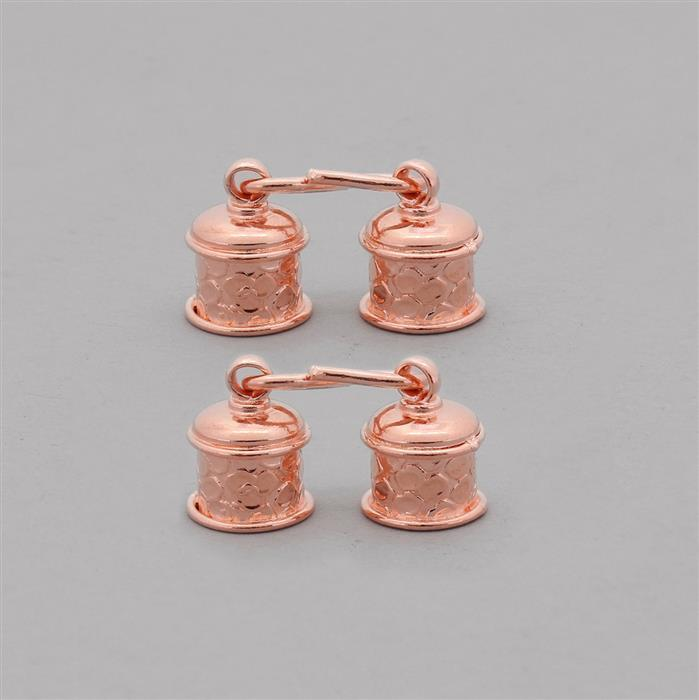 Copper Plated Copper Cord Ends ID Approx 10mm With S-Hook Approx 20x9mm (2 Pairs)