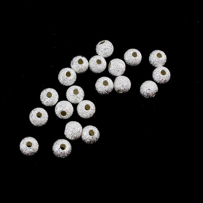 925 Sterling Silver Stardust Beads Approx 5mm (20pcs)