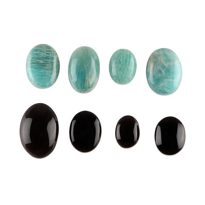 190cts Amazonite & Smokey Quartz Oval Cabochons. (Pack of 8)