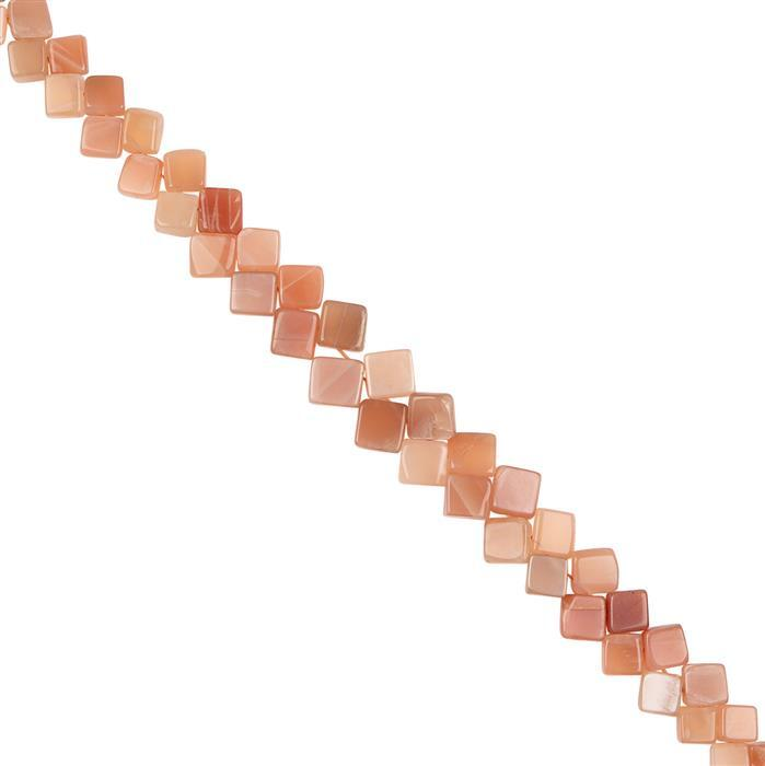 125cts Peach Moonstone Graduated Plain Squares Approx 7 to 12mm, 22cm Strand.