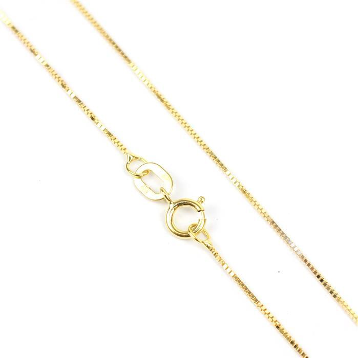 9ct Yellow Gold 9 Venetian Box Chain 46cm/18'
