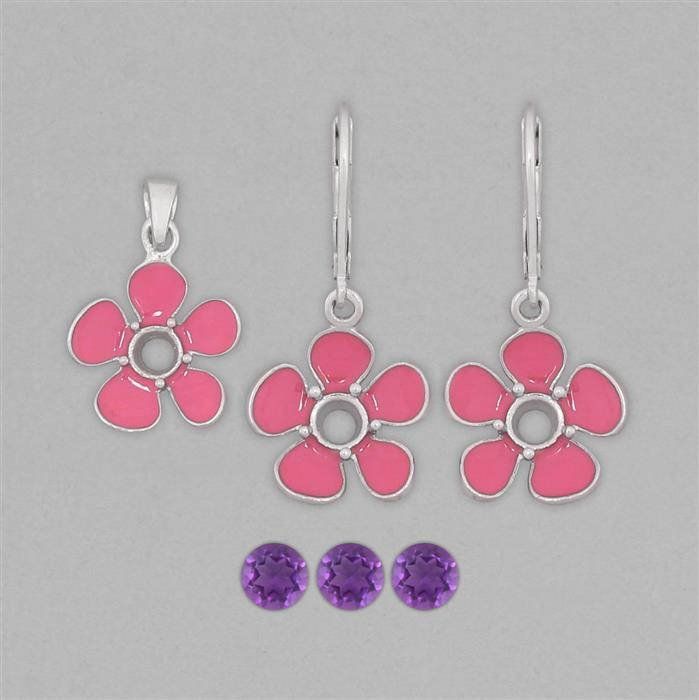 925 Sterling Silver Pink Enamelled Colour Pendant & Earrings Mount Kit Inc. 1.3cts Amethyst 5mm Round