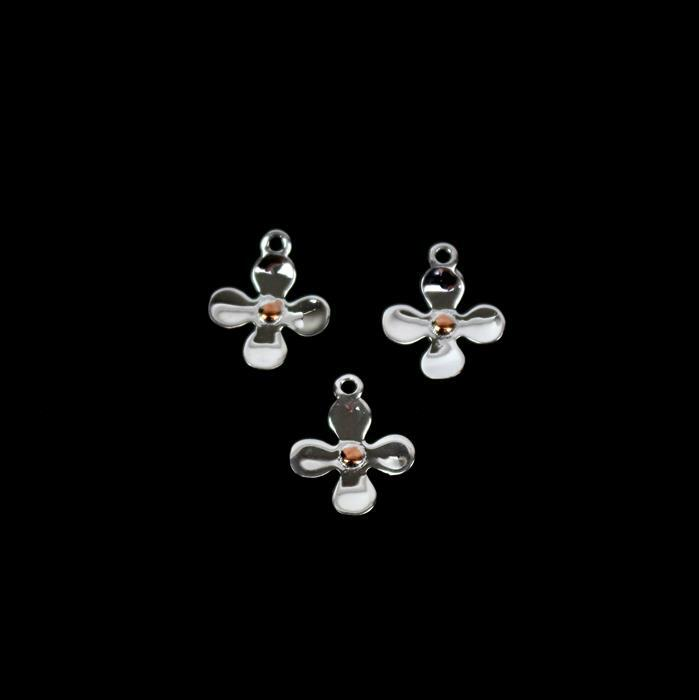 925 Sterling Silver 2 Tone Flower Charms Approx 10x12mm 3pcs