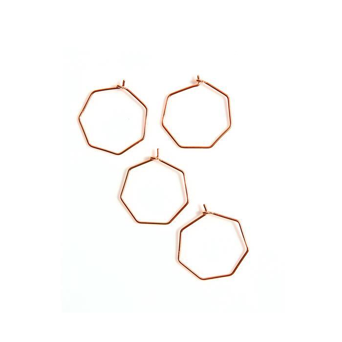 Rose Gold Plated 925 Sterling Silver Heptagon Charms Approx Dia 25mm, (4pcs)