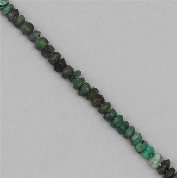 40cts Emerald Graduated Faceted Rondelles Approx 2x1 to 5x3mm, 31cm Strand.
