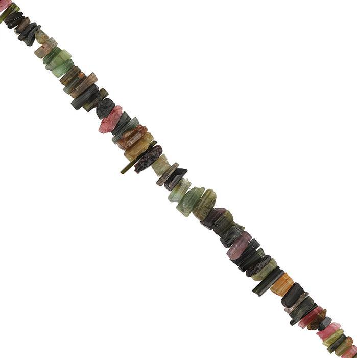 62cts Multi Colour Tourmaline Graduated Rough Slices Approx 5x2 to 13x4mm, 18cm Strand.