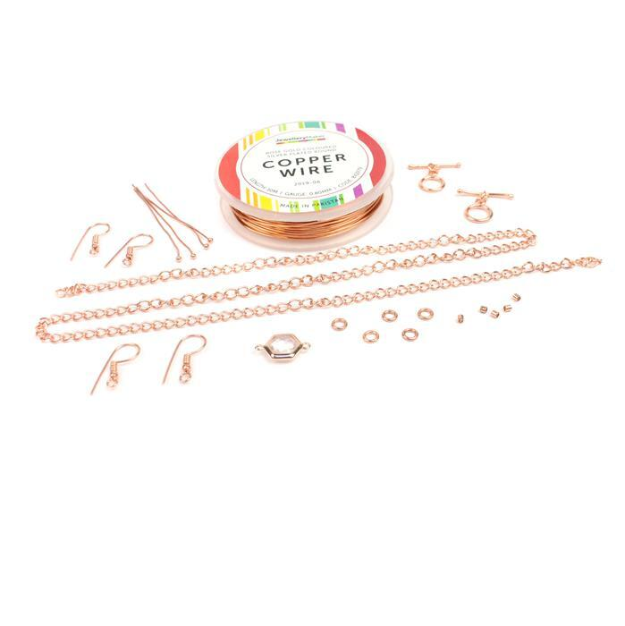 Rose Gold Wire Writing Kit: 0.8mm Wire, Rose Quartz Connector & Findings