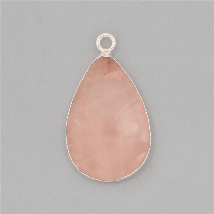 25cts Silver Electroplated Rose Quartz Smooth Pear Pendant Approx 30x20mm With 4mm Loop.(1pcs)