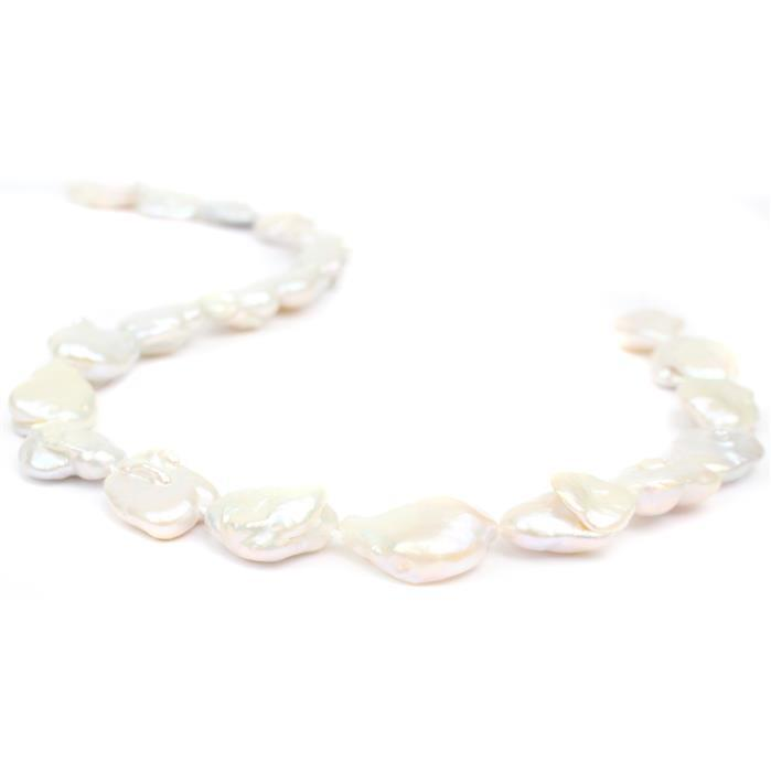 Metallic White Freshwater Cultured Baroque Pearls Approx 12-15mm, 38cm