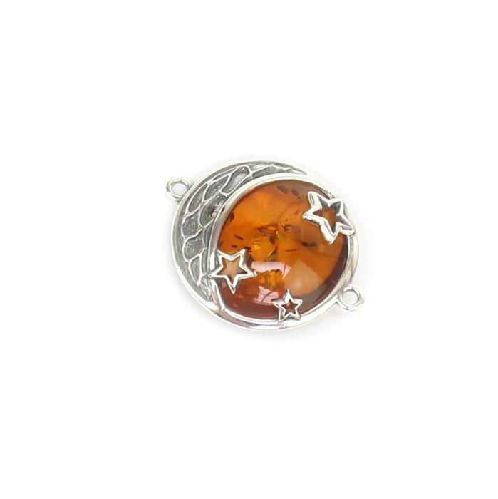 Baltic Cognac Amber Moon and Stars Sterling Silver Connector Approx 21x26mm