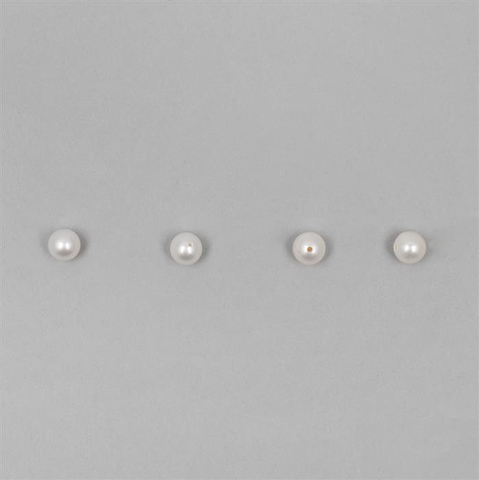 White Freshwater Cultured Pearls (Half Drilled) Plain Rounds Approx 6mm 4pcs/set