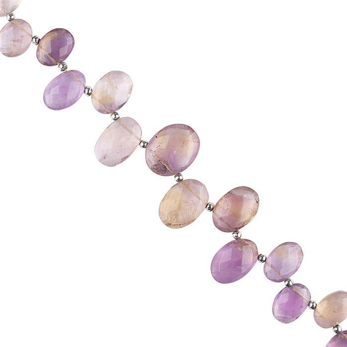 152cts Ametrine & Amethyst Graduated Faceted Ovals Approx 10x7 to 19x13mm, 20cm Strand.