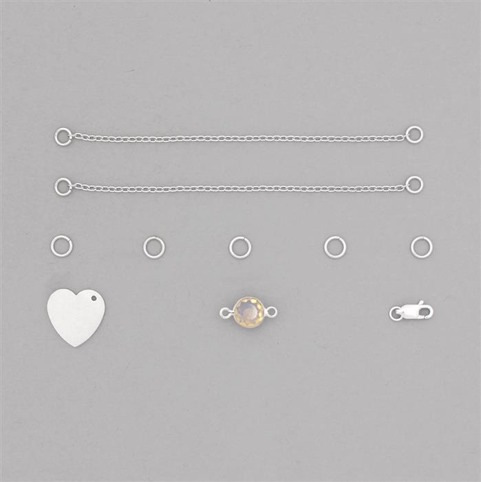Birthstone Kit: 925 Sterling Silver Bracelet Kit Inc. 1.03cts Ethiopian Opal Brilliant Round Approx 8mm (10pcs)