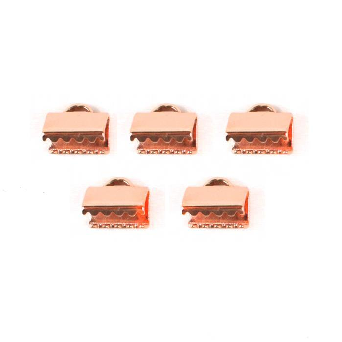 Rose Gold Coloured Copper Fold Over Clasp 10mm (5pcs)