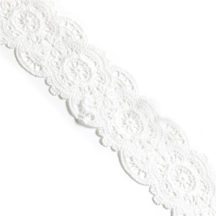 5m White Lace Ribbon, Approx 57mm width