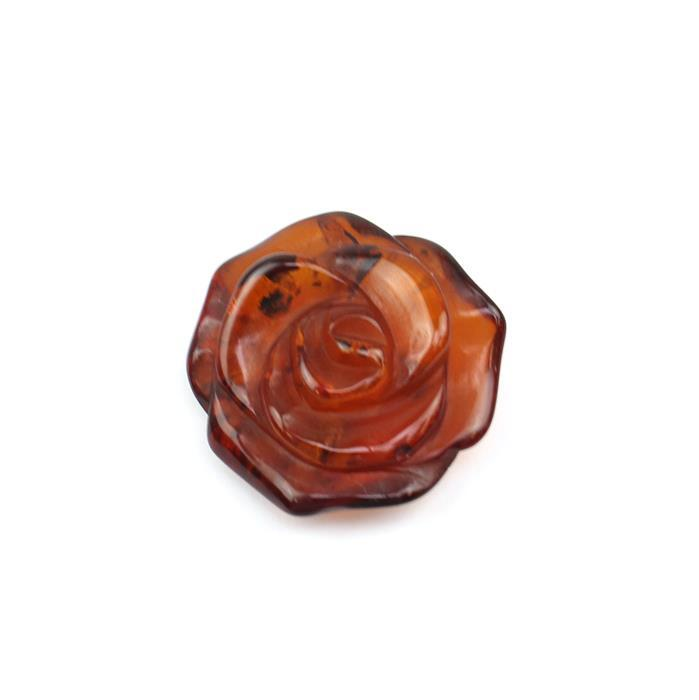 Baltic Cognac Amber Rose Approx 20 to 25mm