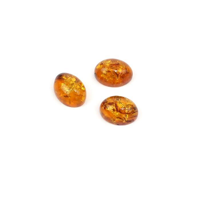 Baltic Cognac Amber Oval Cabochons Approx 8x6mm (3pcs)