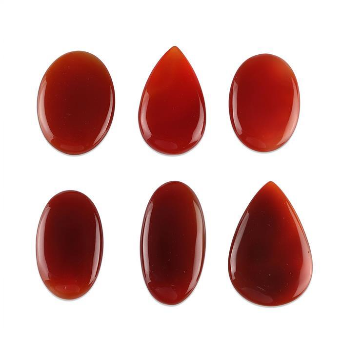 490cts Red Onyx Multi Shape Cabochons Assortment.