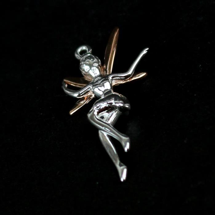 925 Sterling Silver 3D Fairy Pendant with Rose Gold Plated Wings, 25x15mm, 1pc