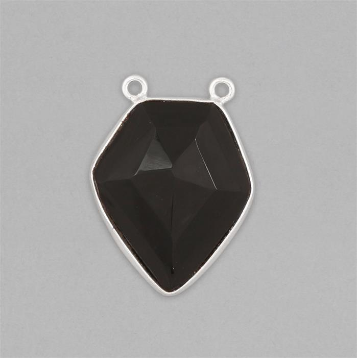 Silver Plated Copper 15cts Black Onyx Step Cut Diamond Pendant Approx 27x20mm
