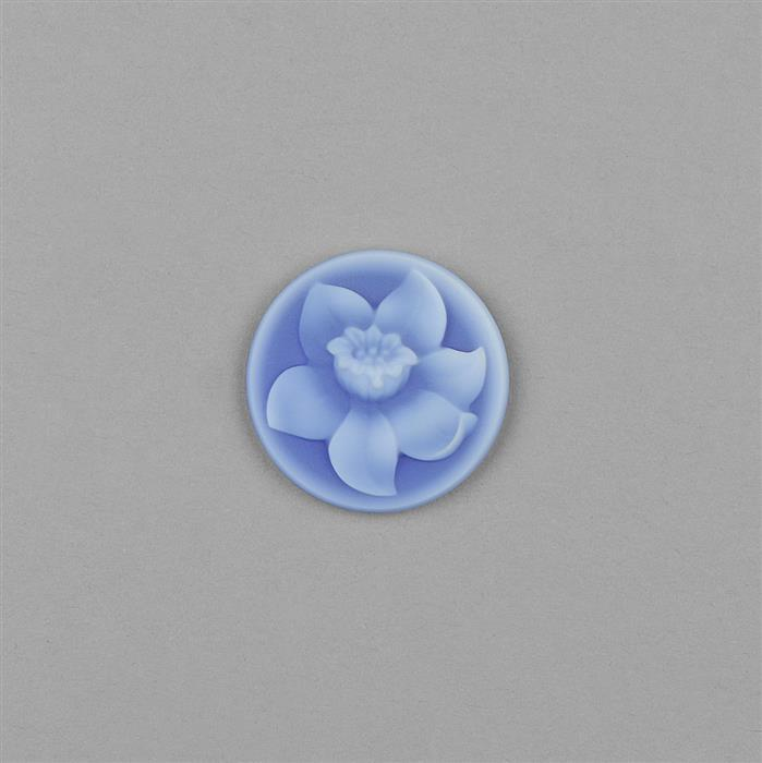Idar-Oberstein 10cts Blue Agate Carved Round Flower Print Cameo Approx 24mm.