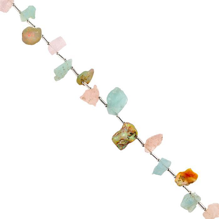 80cts Morganite, Ethiopian Opal & Aquamarine Graduated Rough Slices Approx 10x7 to 18x10mm, 18cm Strand.